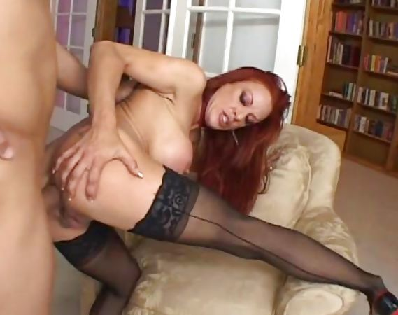 Ginger nyloned cumslut takes it anal!